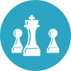 Management-Business-chess-moves-on-blue-circul-background-icon