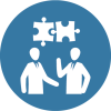Management-Business-figure-out-puzzle-on-blue-circul--background-Icon